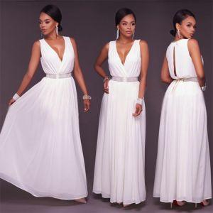 Sexy Blanche Chiffon Robes longues 2018 Empire V-Cou Sans Manches Faux Diamant Ceinture Longue Volants Vêtements Femme