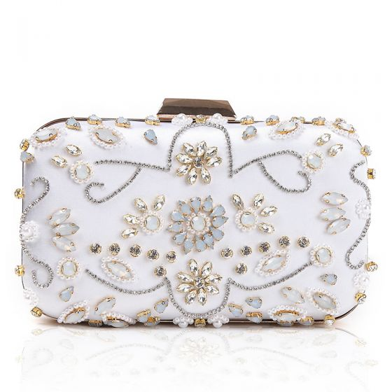 Chic / Beautiful White Beading Crystal Pearl Rhinestone Cocktail Party Evening Party Clutch Bags 2018