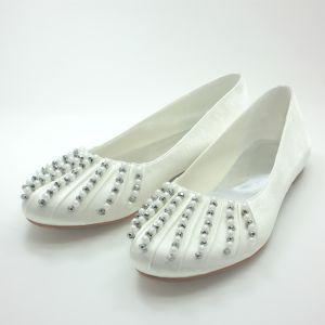 Beautiful Round Toe Ivory Satin Flat Wedding Shoes With Beading Pearl Rhinestone