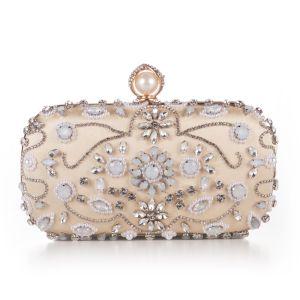 Luksusowe Złote Frezowanie Kryształ Rhinestone Koktajlowe Wieczorowe Kopertówki 2018