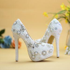 Chic / Beautiful White Wedding Shoes 2019 Appliques Pearl Rhinestone Crystal 14 cm Stiletto Heels Round Toe Wedding Pumps