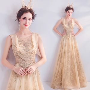 Charming Gold Evening Dresses  2020 A-Line / Princess Scoop Neck Rhinestone Glitter Sequins Sleeveless Backless Floor-Length / Long Formal Dresses