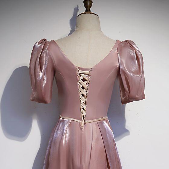 Elegant Dusky Pink Satin Prom Dresses 2021 A-Line / Princess Square Neckline Pearl Sash Short Sleeve Backless Floor-Length / Long Prom Formal Dresses