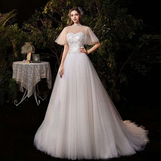 Affordable Champagne Outdoor / Garden Wedding Dresses 2020 A-Line / Princess See-through High Neck Short Sleeve Backless Sequins Floor-Length / Long Ruffle