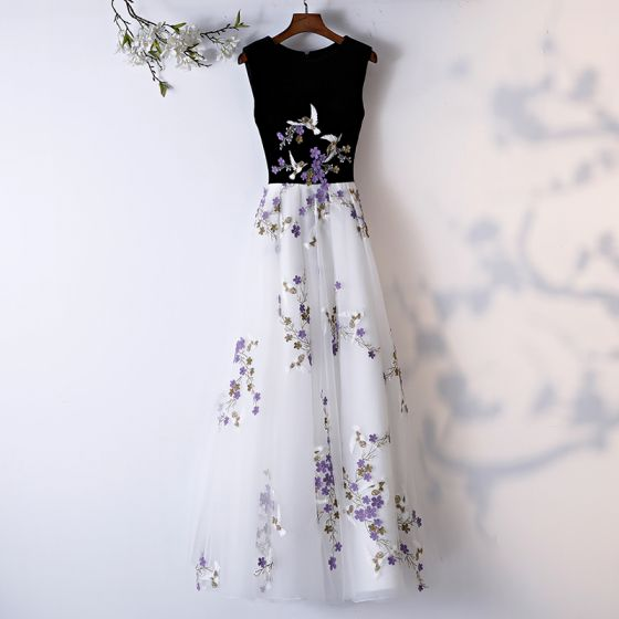 Chic / Beautiful White Prom Dresses 2019 A-Line / Princess Scoop Neck Sleeveless Appliques Lace Floor-Length / Long Formal Dresses