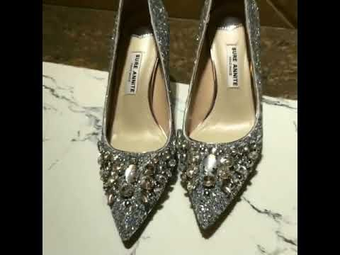 Sparkly Silver Wedding Shoes 2018 Glitter Rhinestone Sequins 8 cm Stiletto Heels Pointed Toe Wedding Pumps