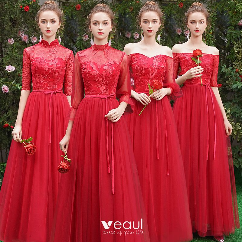 Affordable Red Bridesmaid Dresses 2019 A Line Princess Sash Liques Lace Floor Length Long Ruffle Backless Wedding Party