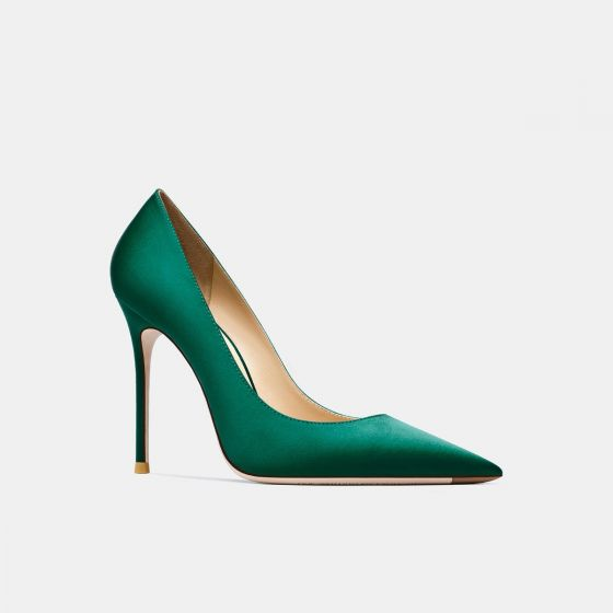 Modest / Simple Green Office OL Pumps 2021 Leather 10 cm Stiletto Heels Pointed Toe Pumps
