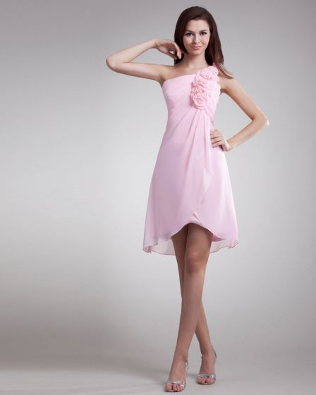 Chiffon Ruffle Flower One Shoulder Knee Length Bridesmaid Dress