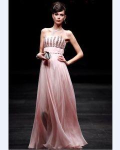 Perlen Trägerlose A-linie Bodenlange Frauen Abendkleider