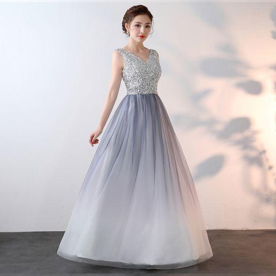 490da102a0 Błyszczące Bling Bling Srebrny Długie Sukienki Wieczorowe 2018 Princessa  V-Szyja Tiulowe Aplikacje Frezowanie Cekiny Wieczorowe Sukienki Wizytowe