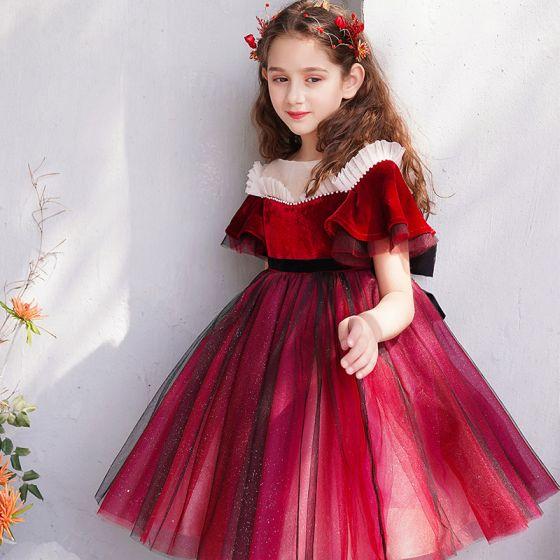 Chic / Beautiful Burgundy Flower Girl Dresses 2019 Ball Gown Scoop Neck Short Sleeve Bow Glitter Tulle Short Ruffle Wedding Party Dresses