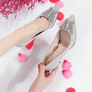 Modern / Fashion Silver Wedding Shoes 2018 Crystal Rhinestone Sequins 9 cm Stiletto Heels Pointed Toe Wedding Pumps