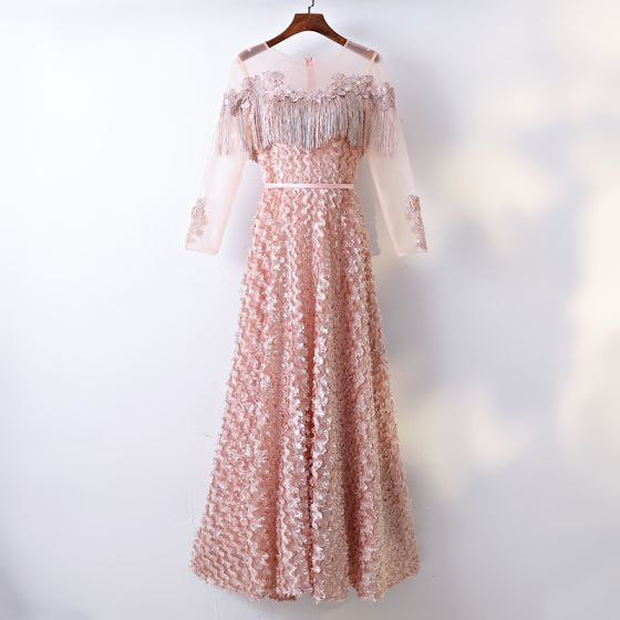Chic / Beautiful Blushing Pink Evening Dresses  2017 A-Line / Princess Lace Beading Crystal Tassel Scoop Neck Long Sleeve Ankle Length Formal Dresses
