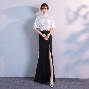 Chic / Beautiful Evening Dresses  2018 Empire Metal Sash Lace Tassel High Neck 1/2 Sleeves Floor-Length / Long Formal Dresses