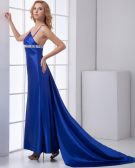Fashion Satin Beaded Pleated One Shoulder Sleeveless Floor Length Prom Dress