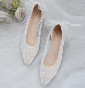 Edles Ivory / Creme Brautschuhe 2020 Tülle Spitze Flache Spitzschuh Hochzeit High Heels