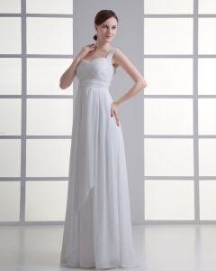 Chiffon Rüschen Schultergurte Bodenlange Falten Reich Hochzeitskleid