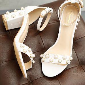 Mode Hvide Casual Kontor Beading Perle Sandaler Dame 2018