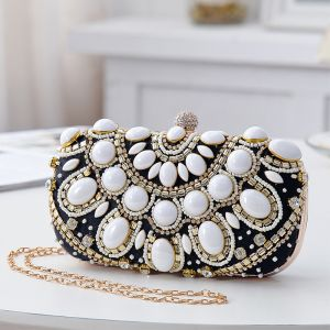 Chic / Beautiful Black Clutch Bags 2020 Metal Beading Rhinestone Accessories