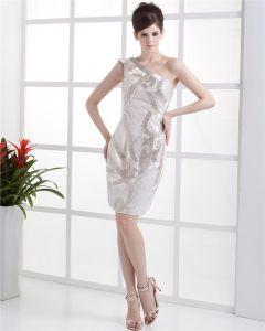 Une Epaule Perlage Longueur Paillette Robe De Cocktail Femme Du Genou Dos Nu Manches