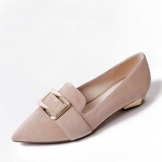 Mujer Exterior 2017 De Jardín Heel Hermoso Sandalias Low Estrecha Zapatos Punta Cuero WeEY2DIH9