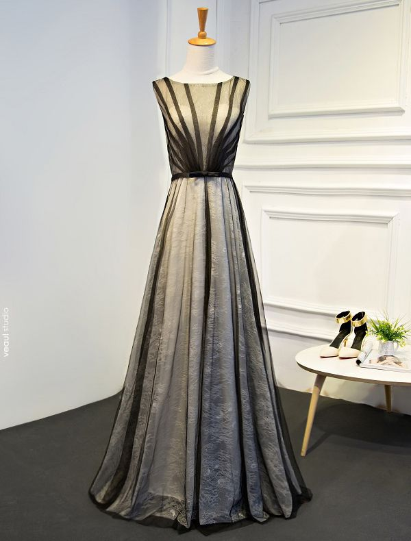 Unique Evening Dresses 2017 Black Striped Tulle Floor Length Dress