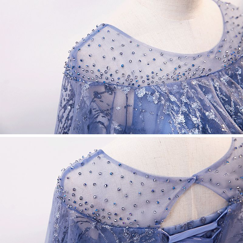 Elegant Ocean Blue See-through Evening Dresses  2020 A-Line / Princess Scoop Neck Sleeveless Glitter Tulle Rhinestone Beading Sequins Floor-Length / Long Ruffle Backless Formal Dresses