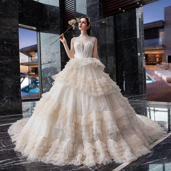 Fabuloso Champán Glitter De Encaje Vestidos De Novia 2019 Ball Gown Transparentes Cuello Alto Sin Mangas Sin Espalda Rebordear Cathedral Train Ruffle