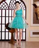 Satin Tulle Beading Applique One Shoulder Thigh Length Cocktail Dress