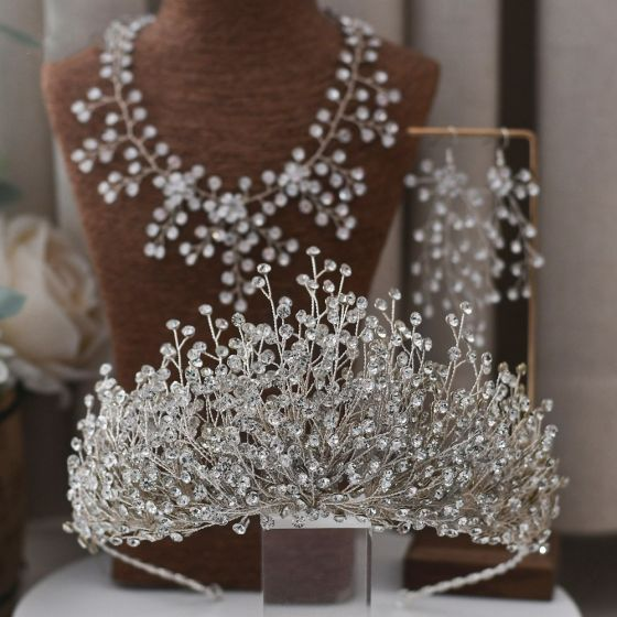 Charming Silver Bridal Jewelry 2021 Alloy Rhinestone Earrings Necklace Tiara Wedding Accessories