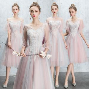 Discount Blushing Pink Bridesmaid Dresses 2019 A-Line / Princess Backless Appliques Lace Pearl Rhinestone Tea-length Ruffle Wedding Party Dresses