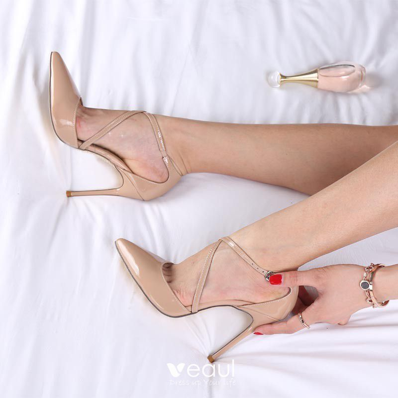 Modest / Simple Nude Evening Party Womens Shoes 2019 Leather Ankle Strap 11 cm Stiletto Heels Pointed Toe High Heels