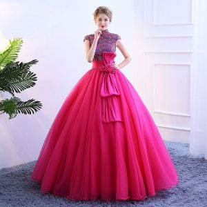 Vintage / Retro Fuchsia Prom Dresses 2019 Ball Gown High Neck Lace Flower Sequins Bow Short Sleeve Floor-Length / Long Formal Dresses