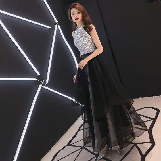 cc6072d049 Stylowe   Modne Czarne Sukienki Wieczorowe 2019 Princessa Wycięciem Cekiny  Bez Rękawów Długie Sukienki Wizytowe