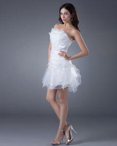 Yarn Sash Strapless Short Bridal Gown Wedding Dresses
