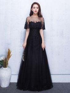 Belle Robe De Soirée 2017 Dentelle Applique Avec Robe Longue Noire