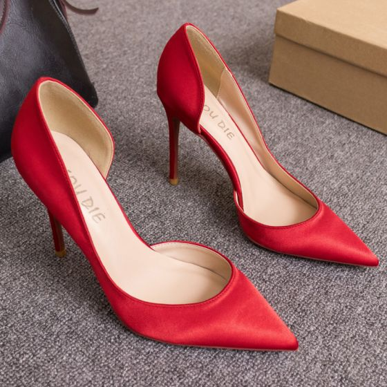Chic / Beautiful Red Office OL Womens Shoes 2020 10 cm Stiletto Heels Pointed Toe Heels