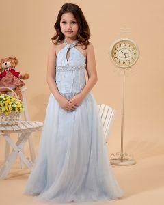 Tüll Halfter Perlen Bodenlangen Junior Brautjungfernkleider Kommunionkleider