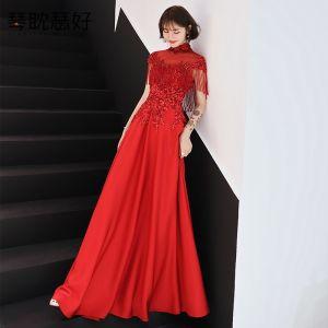 Style Chinois Rouge Transparentes Robe De Soirée 2019 Princesse Col Haut Mancherons Appliques En Dentelle Perlage Gland Longue Volants Dos Nu Robe De Ceremonie