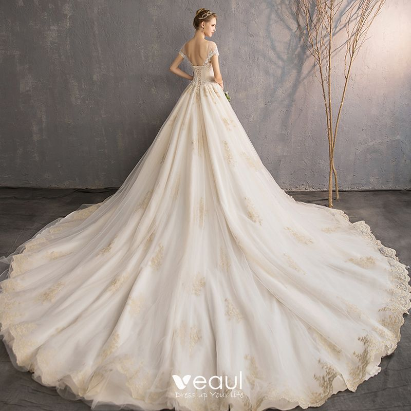 Elegant Champagne Wedding Dresses 2019 A-Line / Princess Scoop Neck Ruffle Beading Pearl Lace Flower Short Sleeve Backless Royal Train