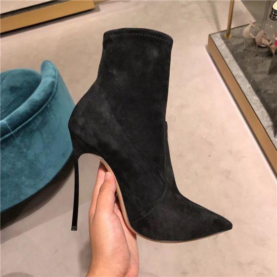 bdf71a8bfad Enkel Sorte Casual Suede Støvler Dame 2019 Polyester 12 cm Stiletter Spidse  Tå Støvler