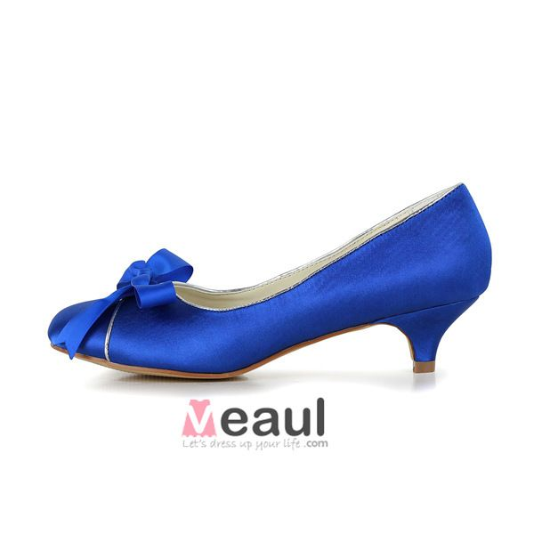 Chic Low Heel Blue Pumps Satin Bridal Wedding Shoes With Bow