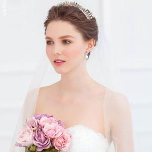 Flash Diamond Pearl Headdress Stereoskopisk Lille Krone Brude Hår Tilbehør Bryllup Tilbehør