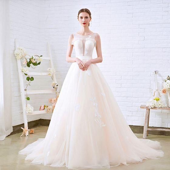sencillos champán transparentes vestidos de novia 2018 a-line