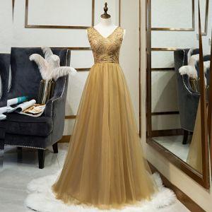 Elegant Gold Evening Dresses  2019 A-Line / Princess V-Neck Beading Lace Sequins Sleeveless Backless Floor-Length / Long Formal Dresses