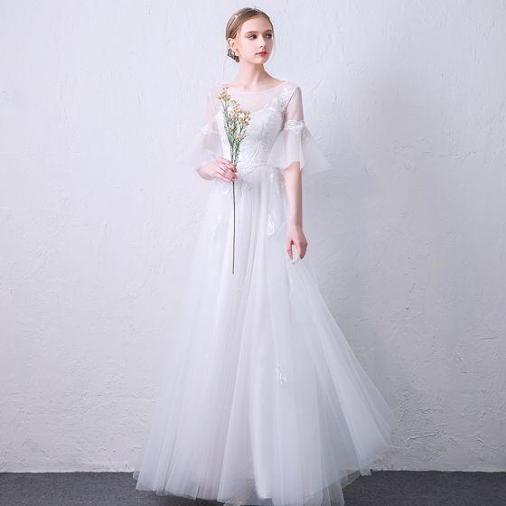 81b72e7d34 Elegantes Blanco Transparentes Vestidos de noche 2019 A-Line   Princess  Scoop Escote Mangas de campana Apliques Con Encaje Largos ...
