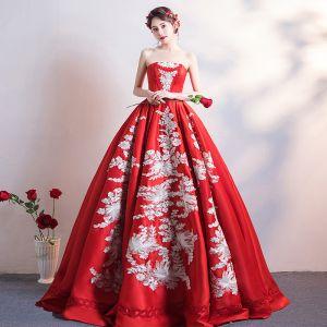 Chinesischer Stil Schöne Burgunderrot Brautkleider / Hochzeitskleider 2019 A Linie Bandeau Spitze Blumen Ärmellos Rückenfreies Lange