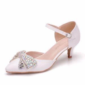 Chic / Belle Blanche Désinvolte Chaussures Femmes 2018 Boucle Faux Diamant Noeud 5 cm Talons Aiguilles À Bout Pointu Talons Hauts