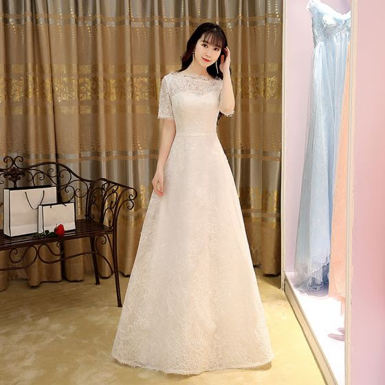 Modest / Simple White Evening Dresses  2017 A-Line / Princess Floor-Length / Long Square Neckline Short Sleeve Tassel Lace Formal Dresses